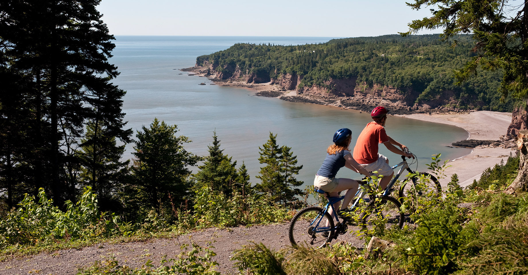 Cyclists on a section of Fundy Trail.