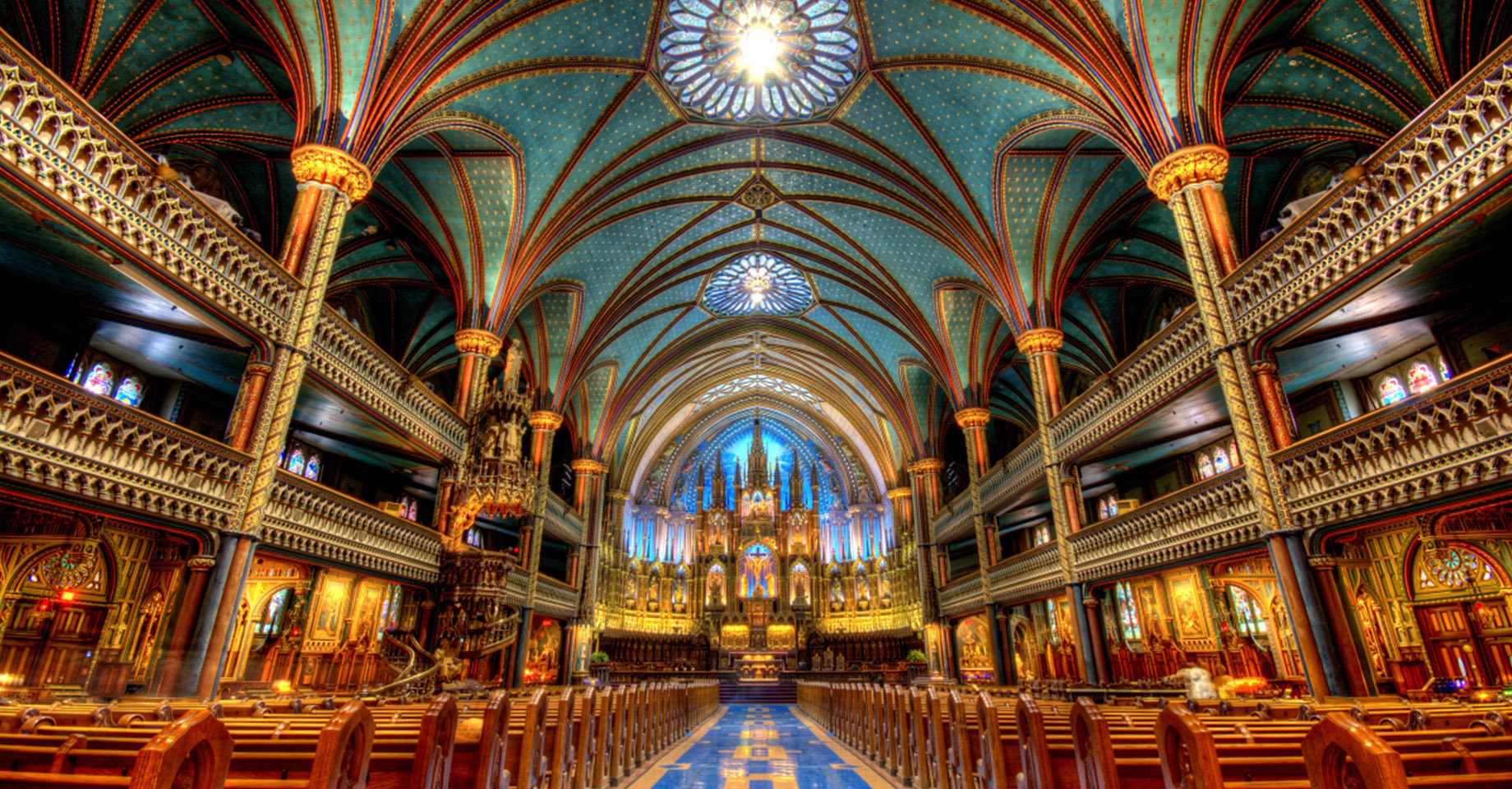 Inside of the Notre-Dame Basilica of Montreal