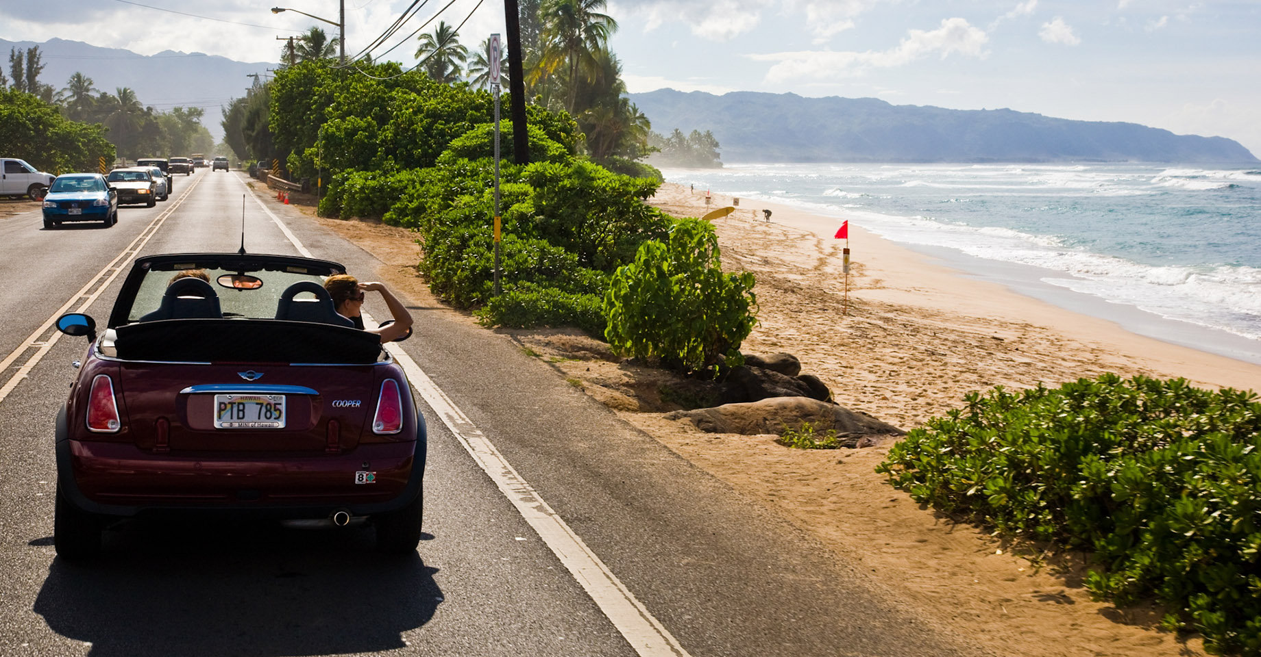 Driving on Hawaii's North Shore