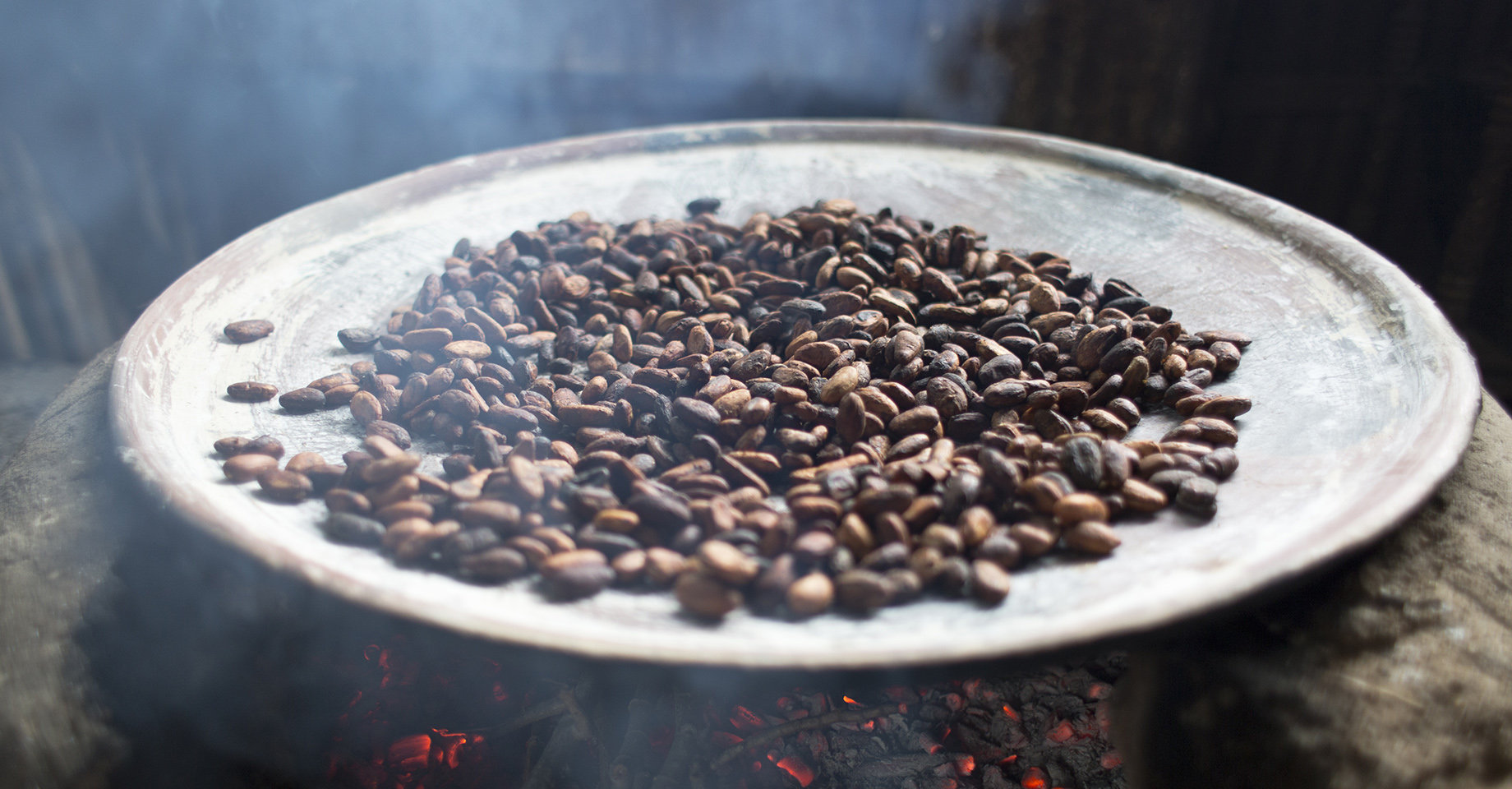 Oaxaca Cocoa Beans Toasted Over Clay Hotplate