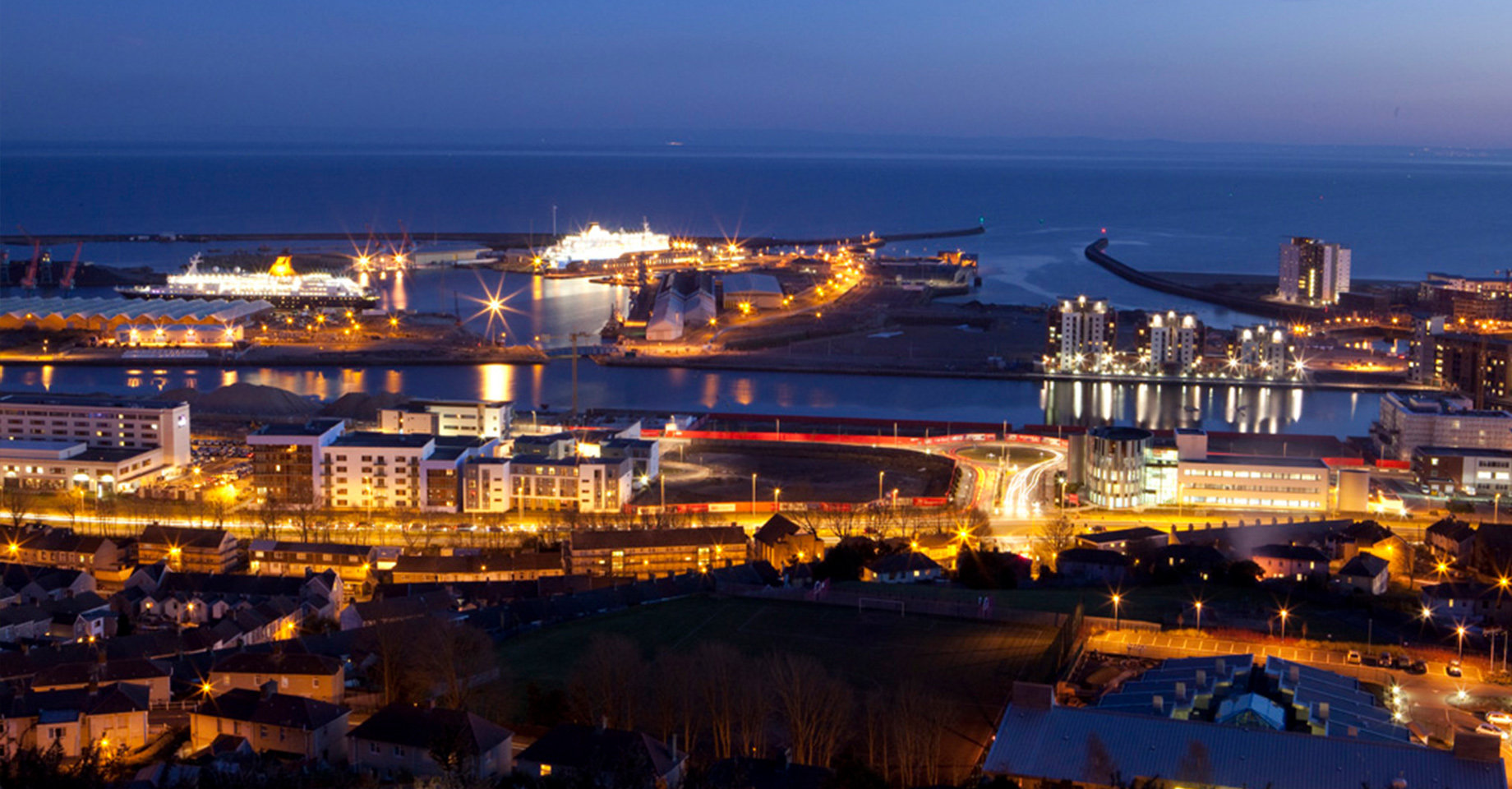 Swansea Harbour at night
