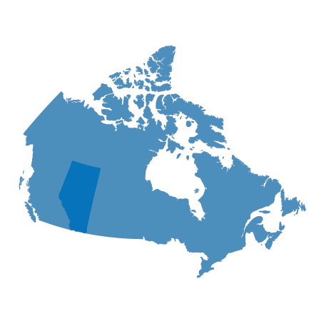 Map of Canada with Alberta highlighted