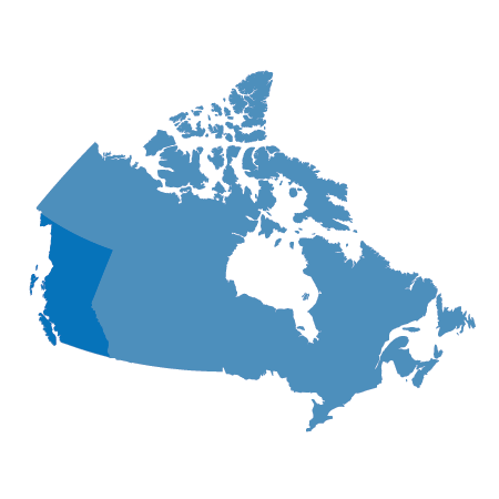Map of Canada with British Columbia highlighted