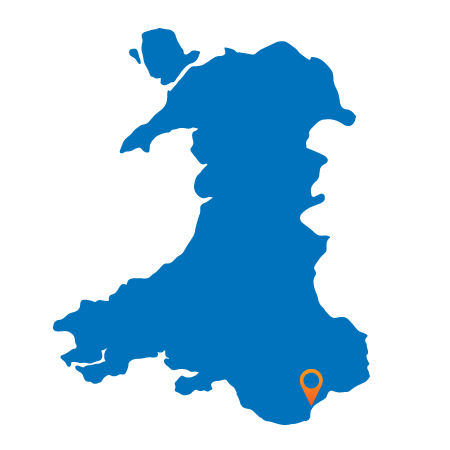 Map of Wales showing Cardiff