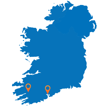 Map of Ireland showing Cork and Killarney
