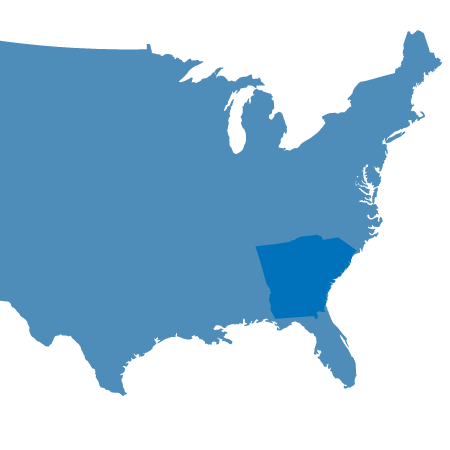 USA Map showing Deep South