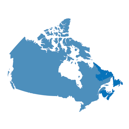 map of canada with the east coast provinces highlighted