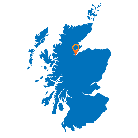 Map of Scotland showing Inverness