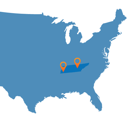 USA map showing Nashville and Memphis
