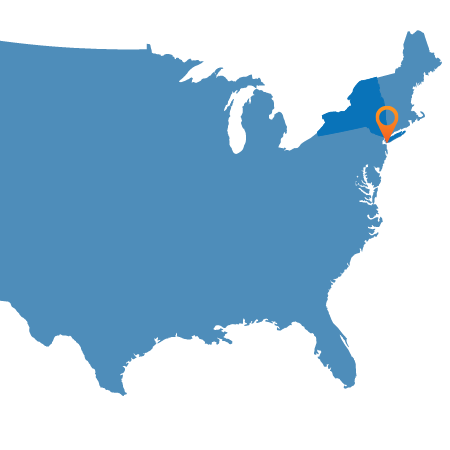 USA Map showing New York City
