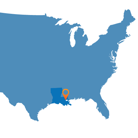USA map showing New Orleans