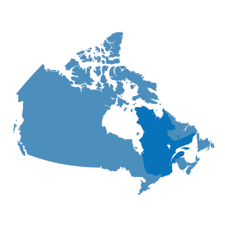 Map of Canada, highlighting Quebec