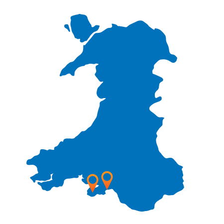 Map of Wales showing Swansea