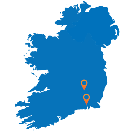 Map of Ireland showing Waterford and Killkenny