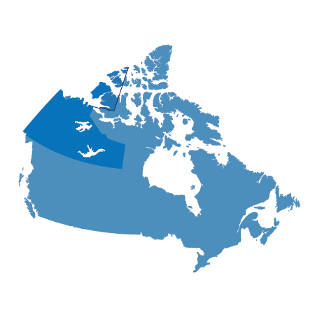 Map of Canada, highlighting Yukon and Northern Territories