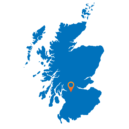 Map of Scotland showing Glasgow