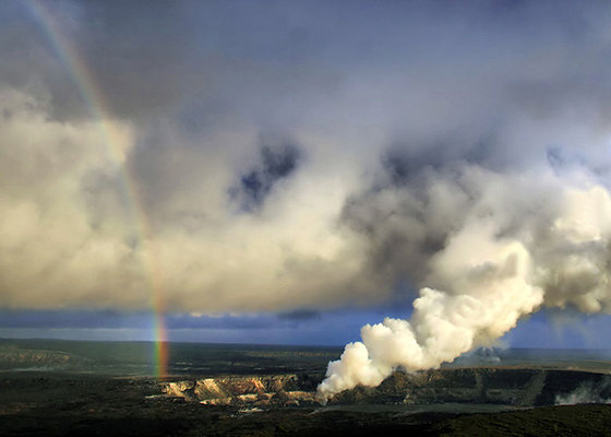 Rainbow & eruption of Halema`uma`u at Kilauea