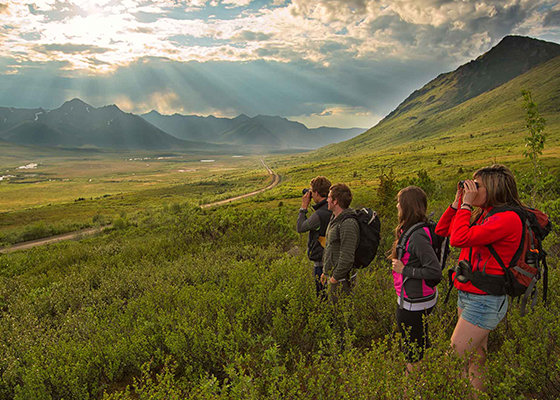 Hikers spotting for wildlife