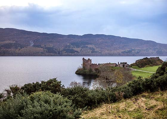 The ruins of Urquhart Castle on Loch Ness