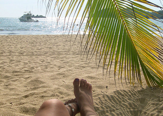 Relaxing on beach at Ixtapa