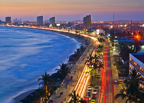 The Malecon at dusk, Mazatlan