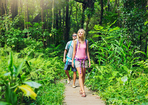 Couple walking forest