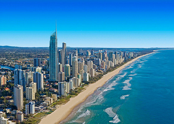 The Gold Coast, just over an hour from Brisbane